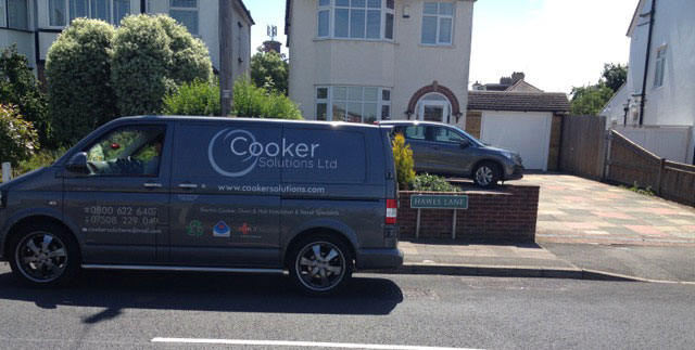 An image showing a Cooker Solutions Van parked in Bromley to carry out oven repairs.