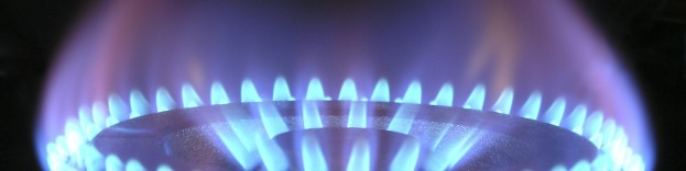 An image of a gas hob which is switched on.